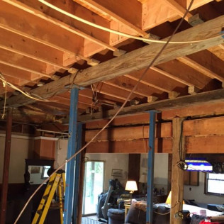 Shoring and leveling service to allow contractor to reinforce the sagging floor and repair settlement in pilings 2